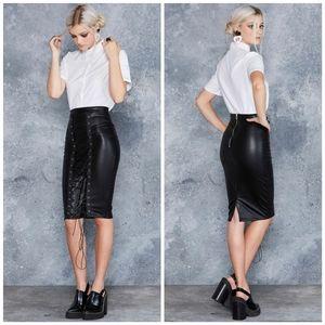 Black Milk Vegan Leather Bound Front Midi Skirt